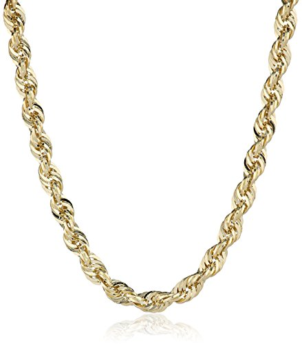 Men's 14k Yellow Gold Hollow Diamond-Cut Rope Chain Necklace (2.5mm)