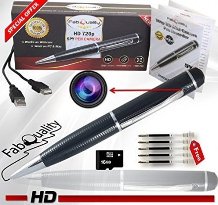 FabQuality Hidden Camera Pen Spy Pen Camera True Video Resolution 1280 x 720P HD + Ultimate 16GB Mic