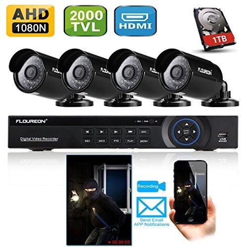 Floureon 8CH 1080N AHD CCTV DVR Digital Video Recorder + 4 x Outdoor 2000TVL 960P 1.3MP Night Vision