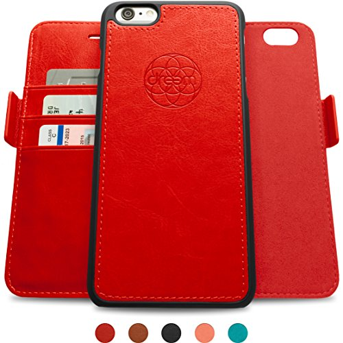 Dreem iPhone 6/6s PLUS Case with Detachable Wallet Folio, 2 Kickstands, Gift Box, Premium Vegan Leat