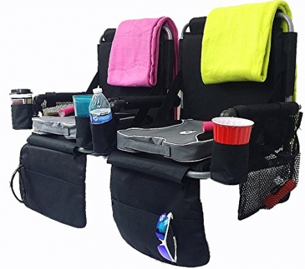 DELUXE TWO-PACK STADIUM SEATS COMBO-Unique w/ Removable Cushions, Blankets and One Convenient Flashl