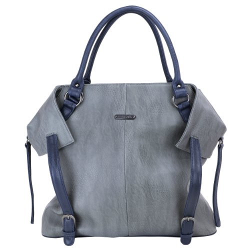 timi & leslie Charlie Diaper Bag Set, Gray/Navy, 7-Piece