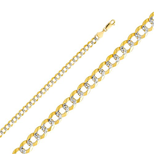 Wellingsale® 14k Two Tone Yellow and White Gold SOLID 5.7mm Polished Cuban Concaved Curb White Pave