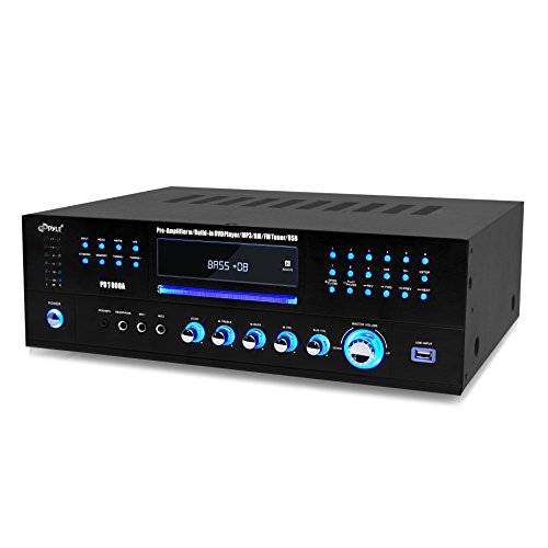 Pyle Home Theater Preamplifier Receiver, Audio/Video System, CD/DVD Player, AM/FM Radio, MP3/USB Rea