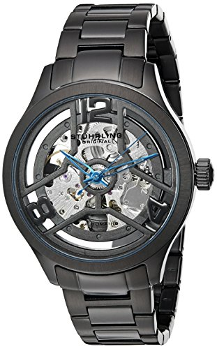 Stuhrling Original Men's 784.02 Symphony Automatic Self Wind Black Link Bracelet Skeleton Watch