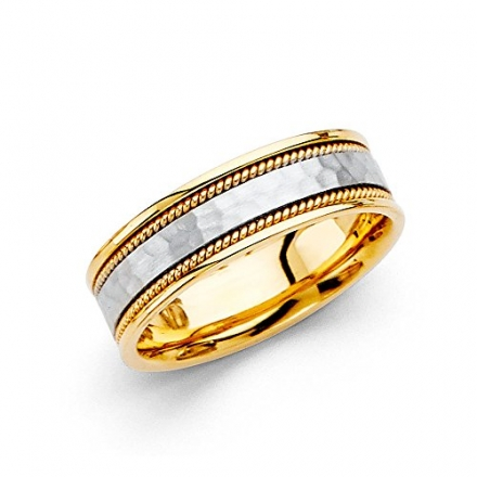 *** LASER ENGRAVING SERVICE *** Wellingsale® 14k Two 2 Tone White and Yellow Gold Polished Satin 6M