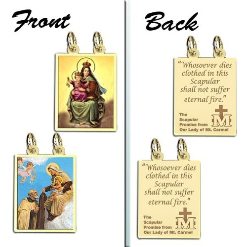 Double Sided Scapular Religious Medals Set 10K And14K Yellow or White Gold, or Sterling Silver