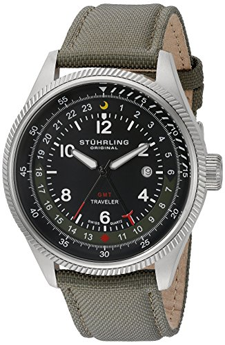 Stuhrling Original Men's 789.02 Aviator Stainless Steel Watch With Green Leather Band