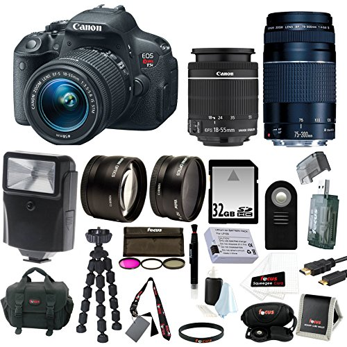 Canon EOS Rebel T5i Digital SLR with 18-55mm STM + 75-300mm EF III Lens + 2.2x Pro Telephoto Lens +