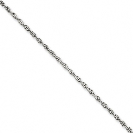 1.75 mm 14k White Gold Solid Rope Chain