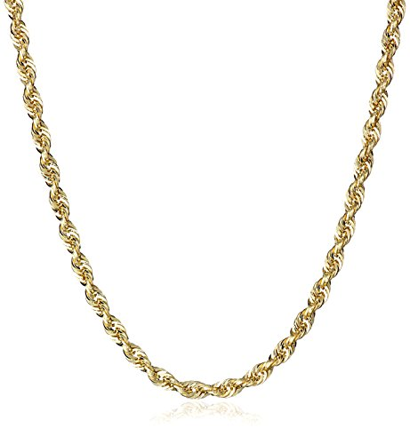 Men's 14k Yellow Gold Hollow Diamond-Cut Rope Chain Necklace (2.25mm)