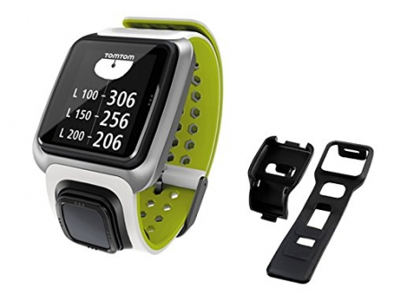 TomTom Golfer Golf GPS Watch with Official TomTom Cart/Bag Mount (White/Bright Green)