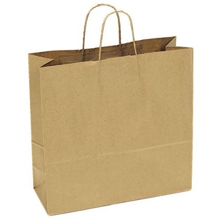 JAM Paper® Gift Bags – Large Wide Shopping Bag (16″ x 6″ x 16″) – Natural Brown Kraft – 250 Bags pe