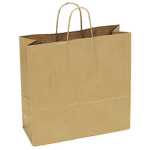 JAM Paper® Gift Bags – Large Wide Shopping Bag (16″ x 6″ x 16″) – Natural Brown Kraft – 250 Bags pe