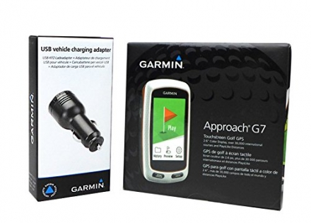 Garmin Approach G7 Handheld Golf GPS with USB Car Charge Adapter