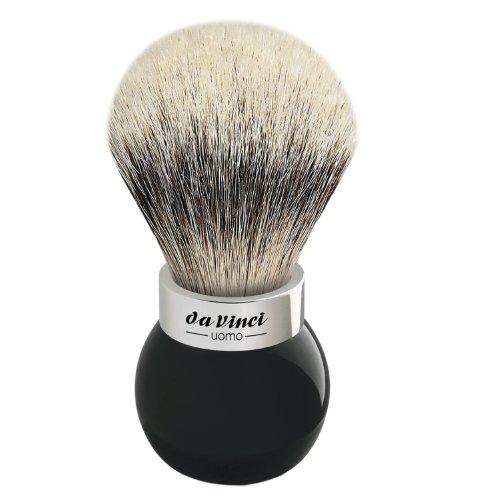 da Vinci Shaving Series 290S UOMO Silvertip Shaving Brush, Badger Hair with Black Globe Handle and S