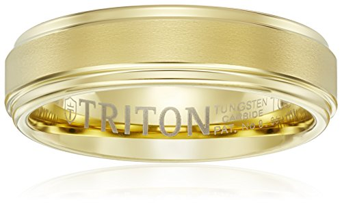 Triton Men's Yellow Tungsten 6mm Step Edge Comfort Fit Band