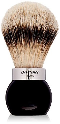 da Vinci Shaving Series 290 UOMO Silvertip Shaving Brush, Badger Hair with Black Globe Handle, 25mm,