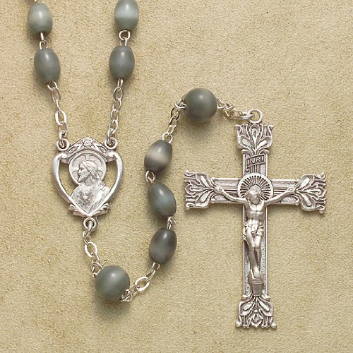 Sterling Silver Rosary Rosaries Catholic 5x7mm Oval Grey Glass Beads