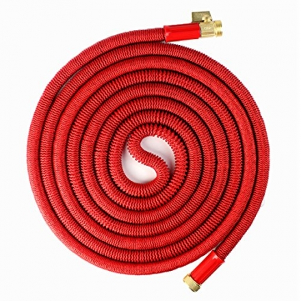Updated Red 75′ Expanding Hose, Strongest Expandable Garden Hose on the Planet. Solid Brass Ends, Do