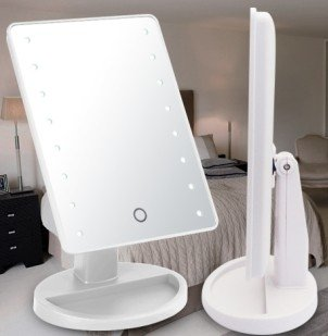 LUXEBEAUTY Cordless Lighted Makeup Mirror with LED Lights -Touchscreen Sensor With DIMMABLE Lights -