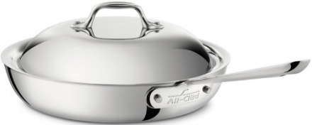 All-Clad 41117 Stainless Steel Tri-Ply Bonded Dishwasher Safe French Skillet with Domed Lid / Cookwa