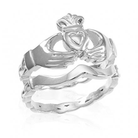 High Polish 10k White Gold Two-Piece Claddagh Engagement and Wedding Ring Set
