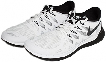 Nike 724383-100-5.5 Free 5.0 Womens Running Shoes, White & Black – 5.5 Medium