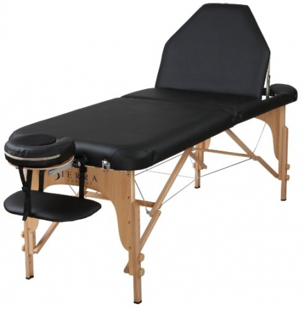 Sierra Comfort Adjustable Back Rest Portable Massage Table, Black