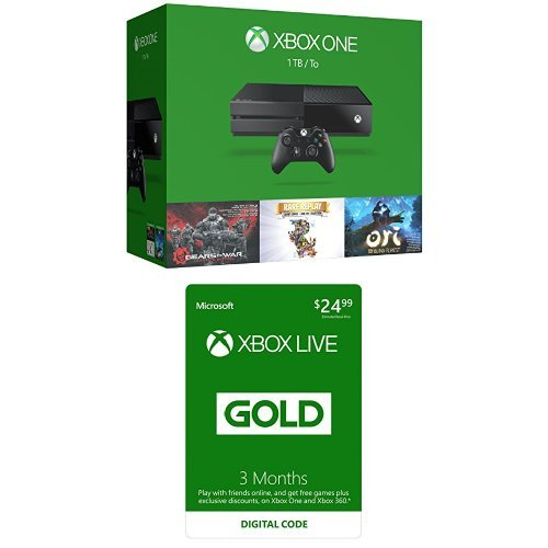 Xbox One 1TB Console – 3 Games Bundle with Xbox Live 3 Month Gold Membership [Digital Code]