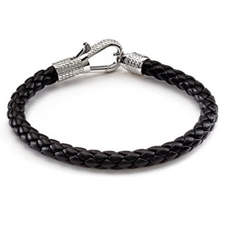 Tateossian Men's Leather Ziggy Bracelet with Silver Clasp – 18 CM, Black