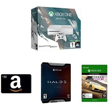 Xbox One 500GB White Console – Special Edition Quantum Break Bundle + Amazon.com $50 Gift Card (Phys