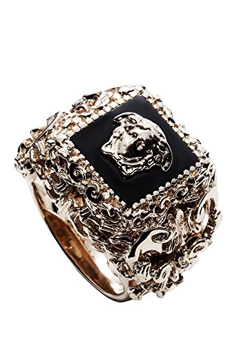 Versace Men's Goldtone Square Barocco Ring Black