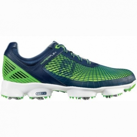 Footjoy 51007 W130 Hyperflex Mens Golf Shoes, Navy & Electric Green – 13.0 Wide
