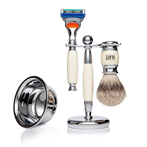 Faux Ivory Shaving Gift Set Kit with Silvertip Badger Brush and Gillette Fusion Compatible Razor Han
