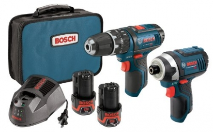 Bosch CLPK241-120 12-Volt Max Lithium-Ion 2-Tool Combo Kit with 3/8-Inch Hammer Drill and 1/4-Inch H