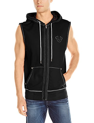 True Religion Men's Big T Sleeveless Zip Front Hoodie