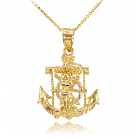 14k Yellow Gold Mariner's Cross with Crucifix Pendant Necklace