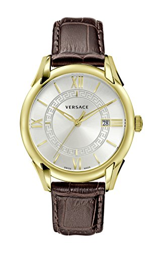 Versace Men's 'APOLLO' Swiss Quartz Stainless Steel and Leather Casual Watch, Color:Brown (Model: V1