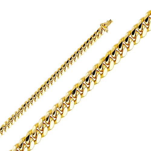 14k Yellow Gold Solid Men's 6.5mm Miami Cuban Curb Chain Necklace