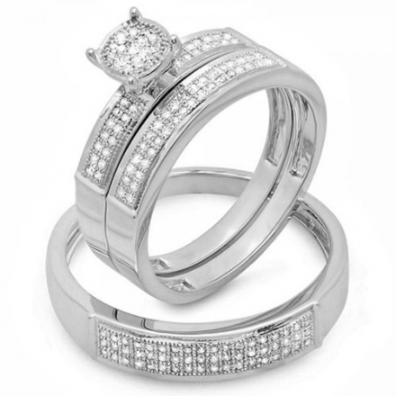 0.33 Carat (ctw) Round White Diamond Men & Women's Micro Pave Engagement Ring Trio Bridal Set 1/3 CT