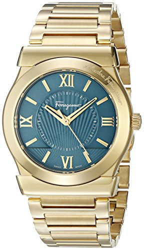 Salvatore Ferragamo Men's 'Vega' Quartz Stainless Steel Casual Watch, Color:Gold-Toned (Model: FI004