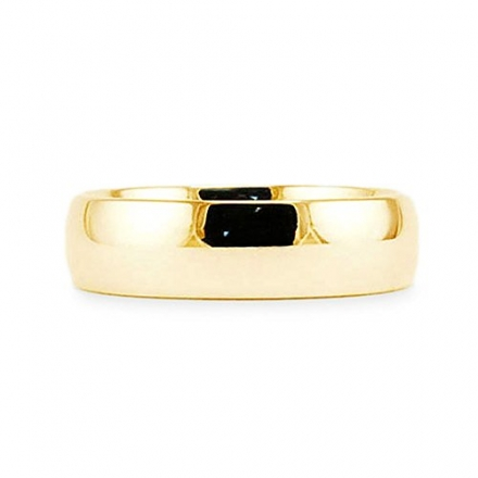 14k Yellow Gold Plain Classic 5mm COMFORT FIT WEDDING BAND