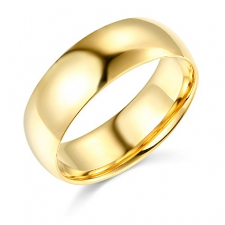 14k Yellow or White Gold 7mm COMFORT FIT Plain Wedding Band