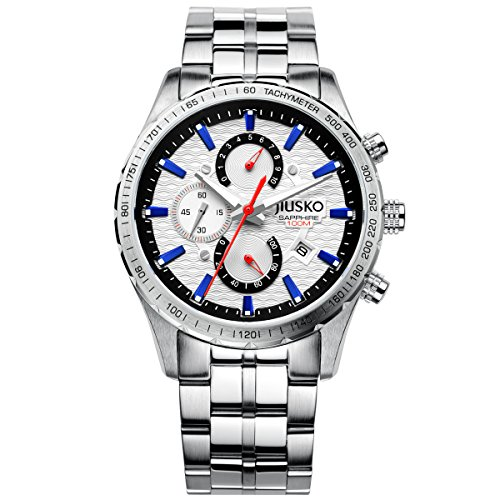 Jiusko Men's 62LS01 Multifunction Tachymeter Chronograph Stainless Steel 100m Sports Dress Silver Wa