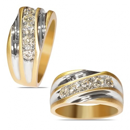 1CT Diamond 5 Wedding Band in 14k Yellow Gold with a Cage Back