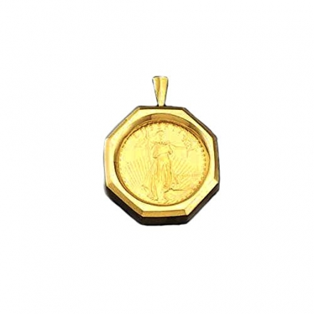 22K Fine Gold 1/2 Oz Us Ameriocan Eagle Coin With 14Kt Frame Pendant (5708