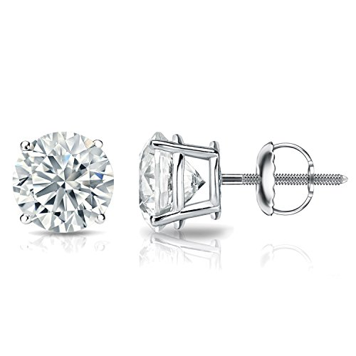 18k Gold 4-Prong Basket Round Diamond Men's Stud Earrings (1/6 – 2 ct, J-K, I1-I2) Screw-Backs