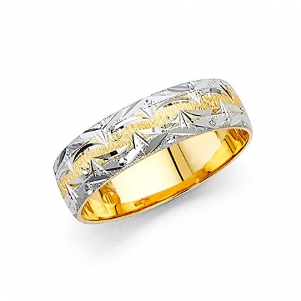 Wellingsale® 14k Two 2 Tone White and Yellow Gold Polished Satin 6MM Diamond Cut Comfort Fit Weddin