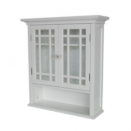 Elegant Home Fashions Neal Collection Shelved Wall Cabinet with Cubby, White